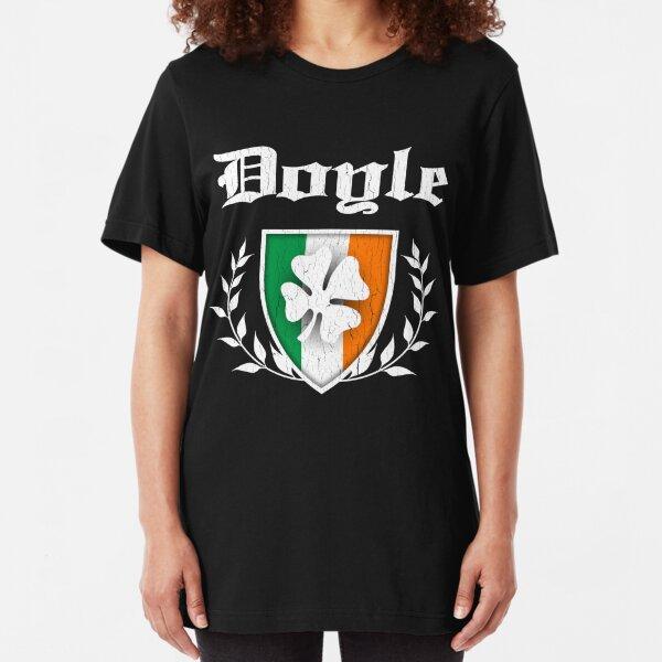 Doyle Family Shamrock Crest (vintage distressed) Slim Fit T-Shirt