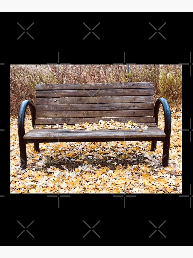 Bench, Orange leaves bench, fall leaves, fall  by PicsByMi