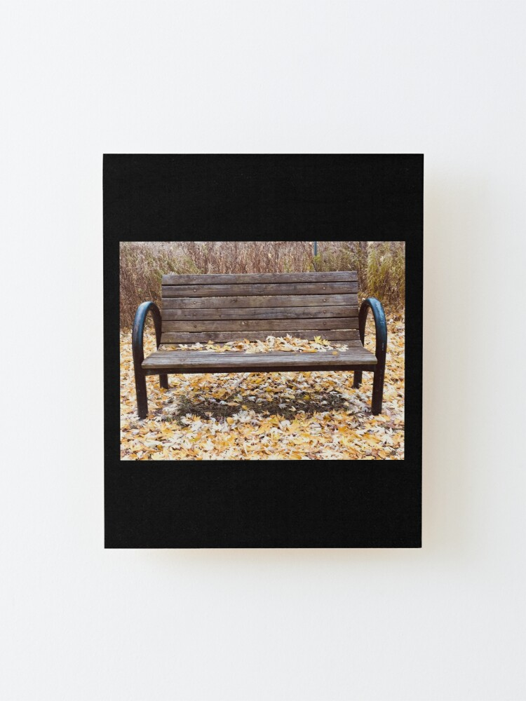 Alternate view of Bench, Orange leaves bench, fall leaves, fall  Mounted Print