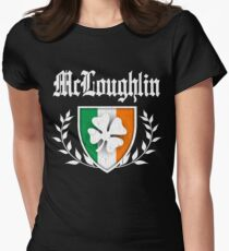 McLoughlin Family Shamrock Crest (vintage distressed) Womens Fitted T-Shirt