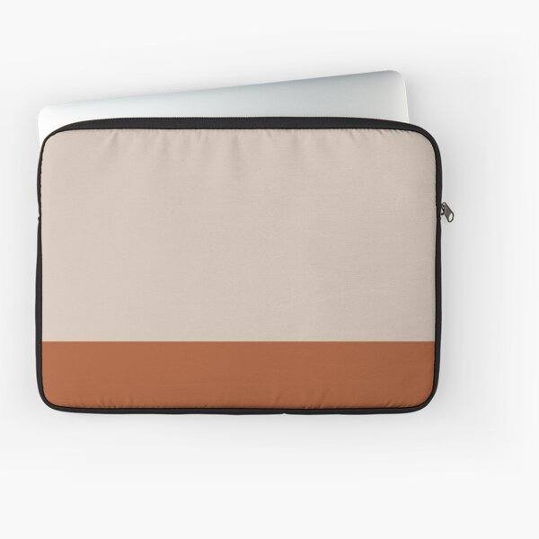 Minimalist Color Block Cuffed Solid in Putty and Clay Rust Terracotta Laptop Sleeve