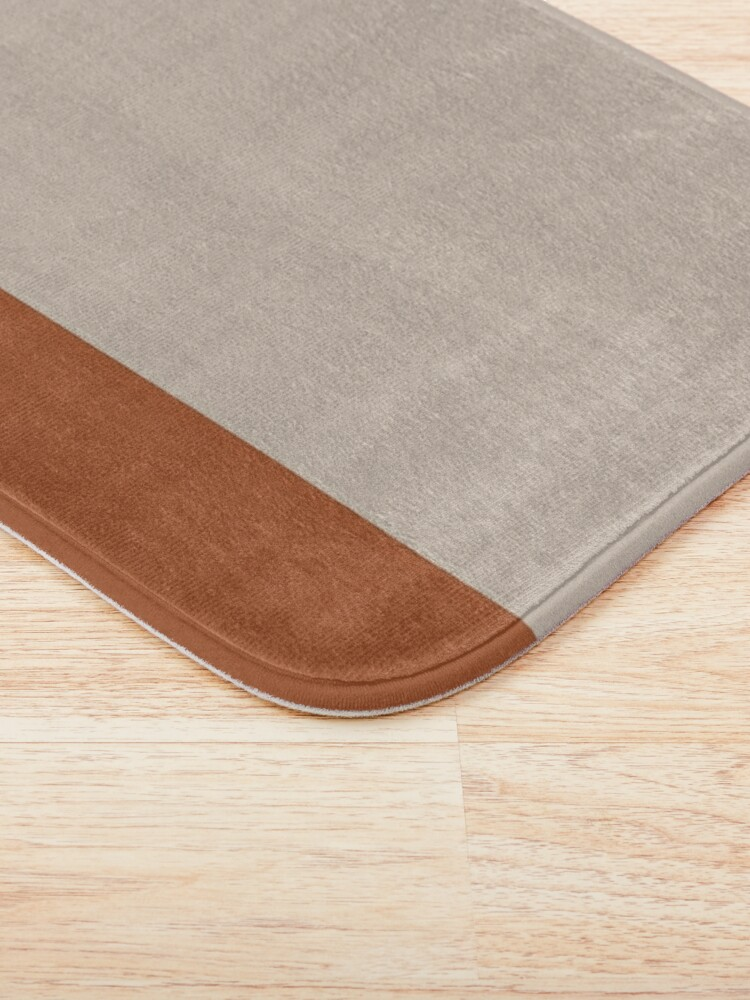 Alternate view of Minimalist Color Block Cuffed Solid in Putty and Clay Rust Terracotta Bath Mat