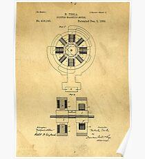 Nikola Tesla Electro Magnetic Motor Patent Poster