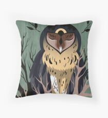 Wooden Owl Throw Pillow
