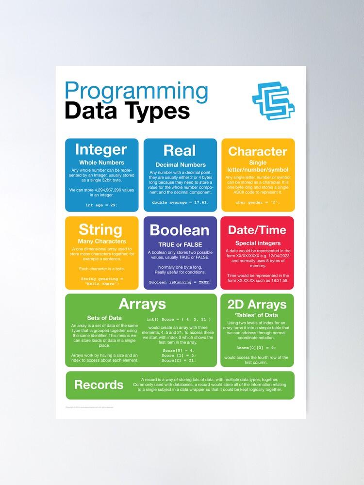 Alternate view of Programming Data Types (Coding Literacy) Poster