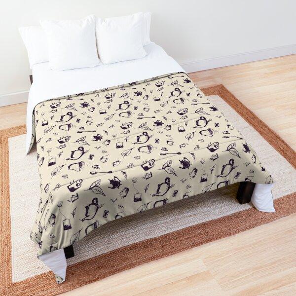 Dark Purple Seamless Tea Pattern Comforter