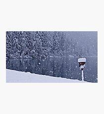 Heavy snowfall at the lake Photographic Print