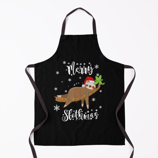 Funny Merry Slothmas Apron