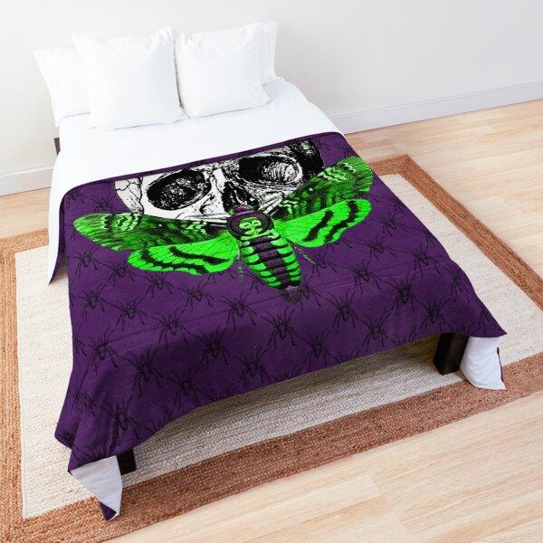 Acid Green Skull Moth on Purple Spider Pattern - Goth Fashion - Halloween Comforter