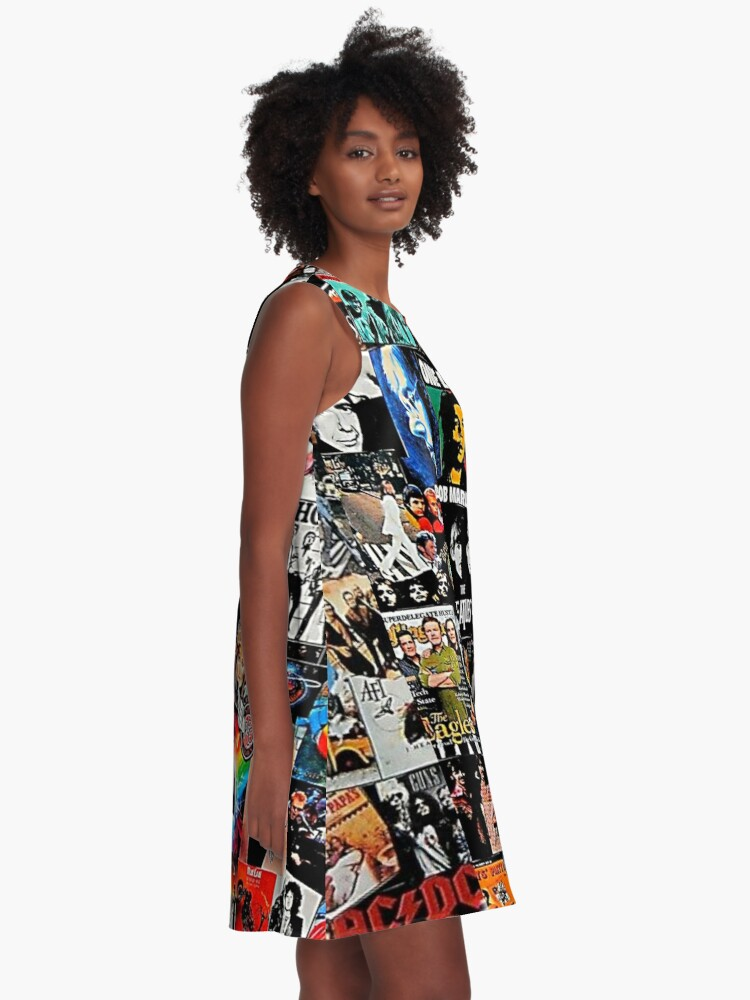 Alternate view of Rock collage  A-Line Dress