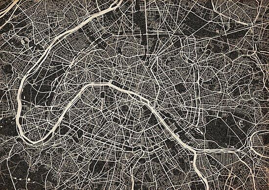 Paris map ink lines by InkMaps