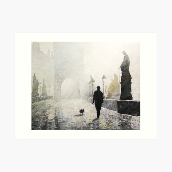 Prague Charles Bridge Morning Walk Art Print