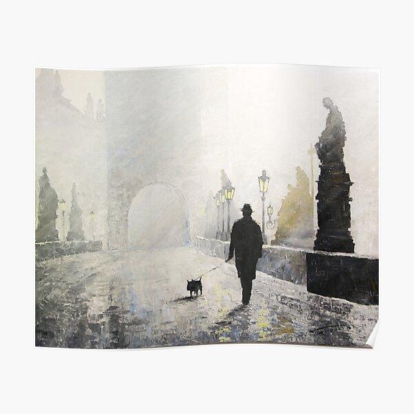 Prague Charles Bridge Morning Walk Poster