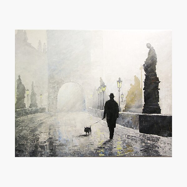 Prague Charles Bridge Morning Walk Photographic Print