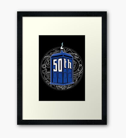Happy 50th Tardis Framed Print
