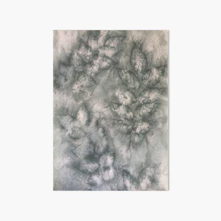 Hand-Dyed Gray Silk Leaf Designer Eco-print Pattern Art Board Print