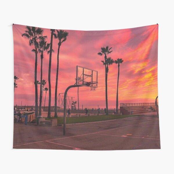 Basketballground And Purple Sunset Tapestry