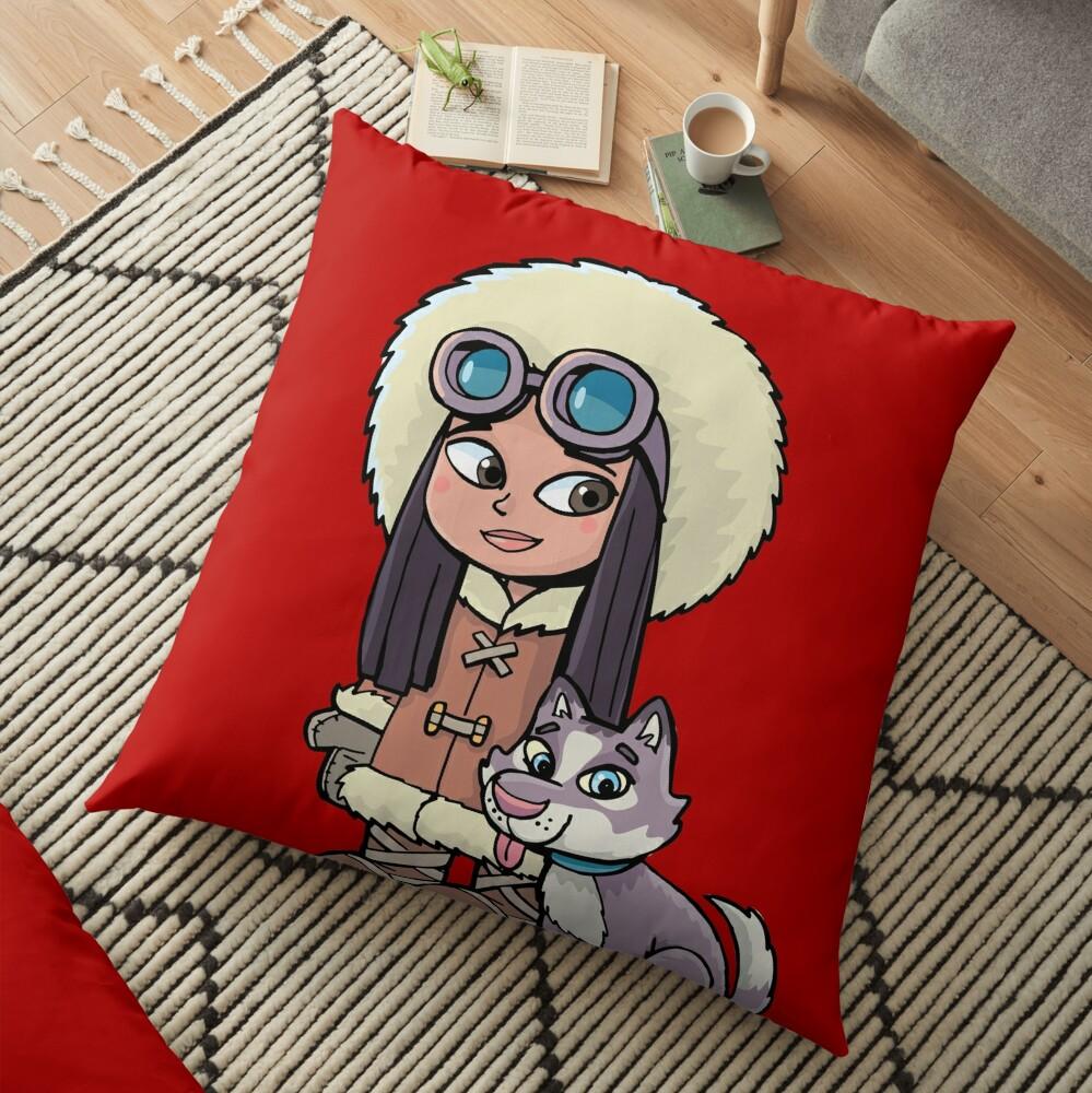 Eskimo girl with a polar dog friend Floor Pillow