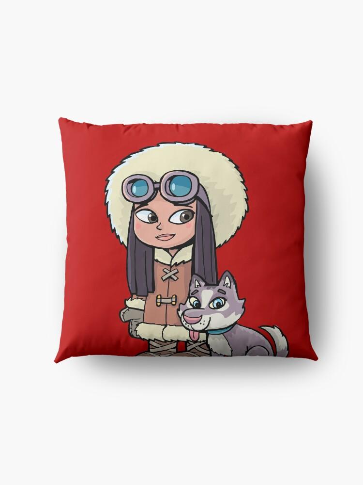 Alternate view of Eskimo girl with a polar dog friend Floor Pillow