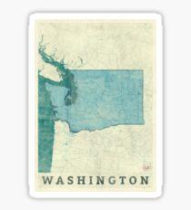 Washington Map Blue Vintage Sticker