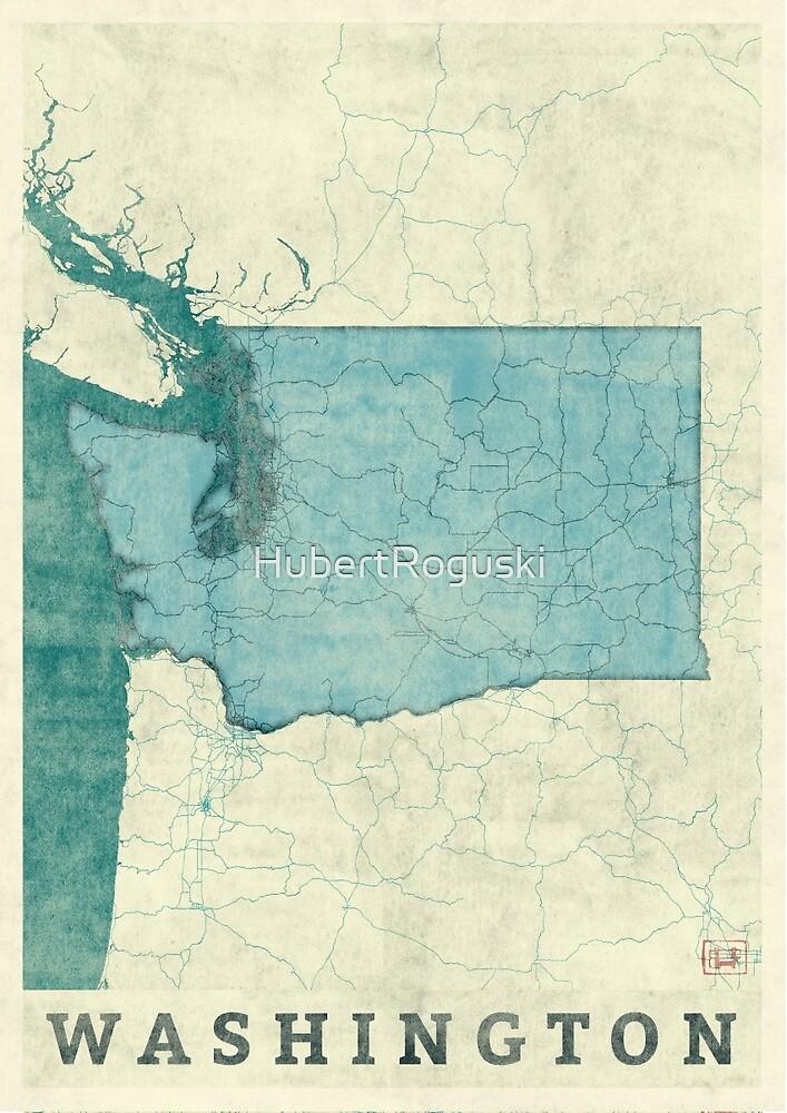 Washington Map Blue Vintage by HubertRoguski
