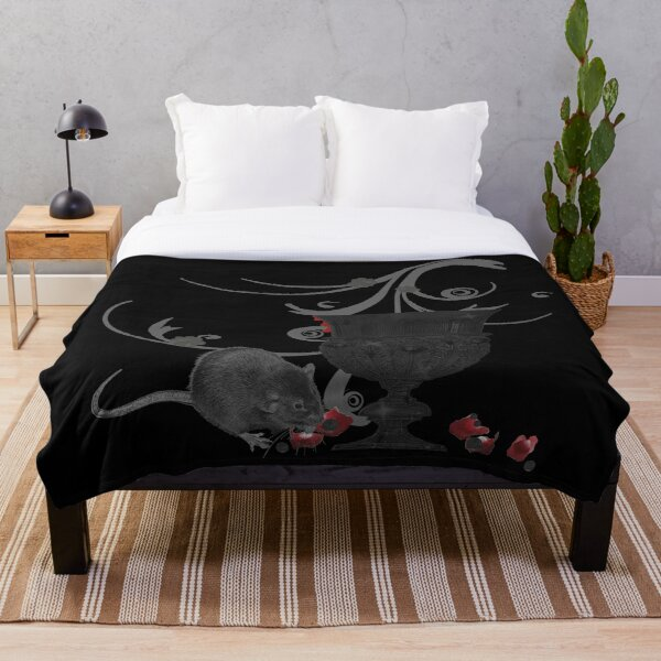 Goth chalice with rat, goth, rose petals, tribal Throw Blanket