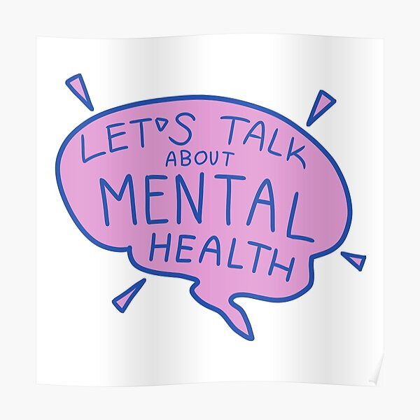 Let's Talk Mental Health (Purple Speech Bubble) Poster