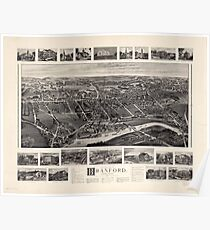 Bird's-eye view Map of Branford Connecticut (1905) Poster