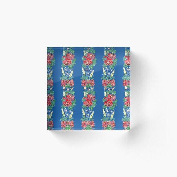 Slavic folklore ribbons, blue, large pattern Acrylic Block