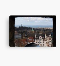 View from Edinburgh Castle over Edinburgh, the River Forth down to East Lothian Canvas Print