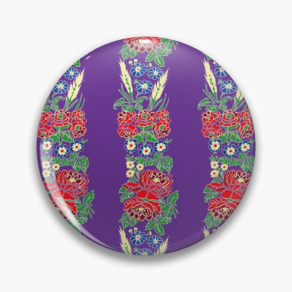Slavic folklore ribbons, purple, large pattern Pin