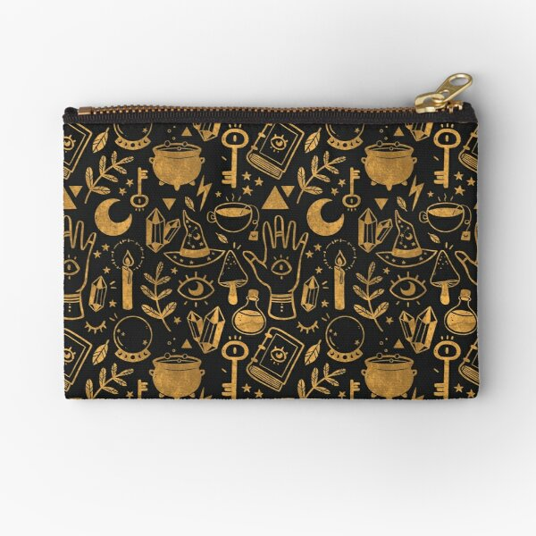 Witchy Things Textured Gold Zipper Pouch