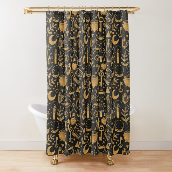 Witchy Things Textured Gold Shower Curtain