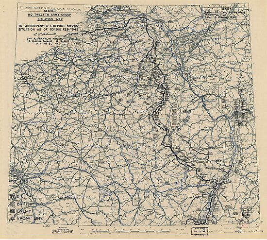 February 5 1945 World War II HQ Twelfth Army Group situation map by allhistory