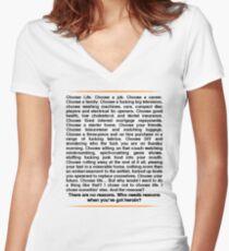 Trainspotting speech Women's Fitted V-Neck T-Shirt