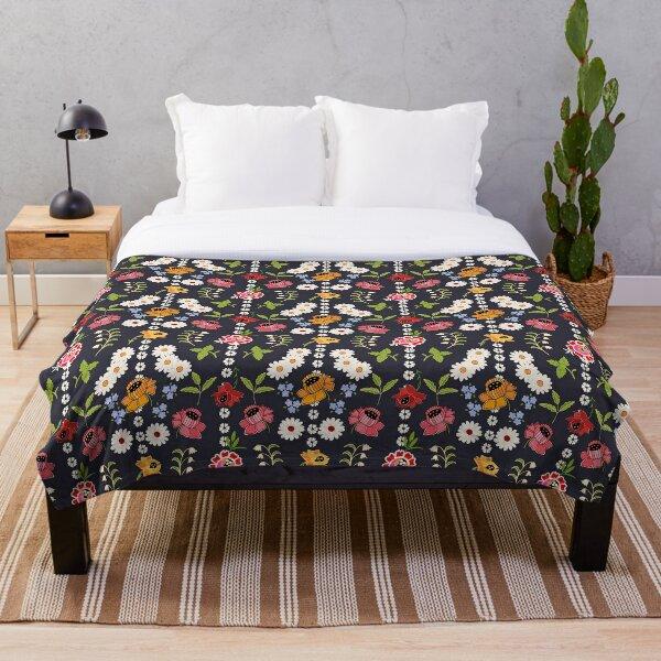 Kyjovske folklorni zastera / Kyjov floral apron large print Throw Blanket