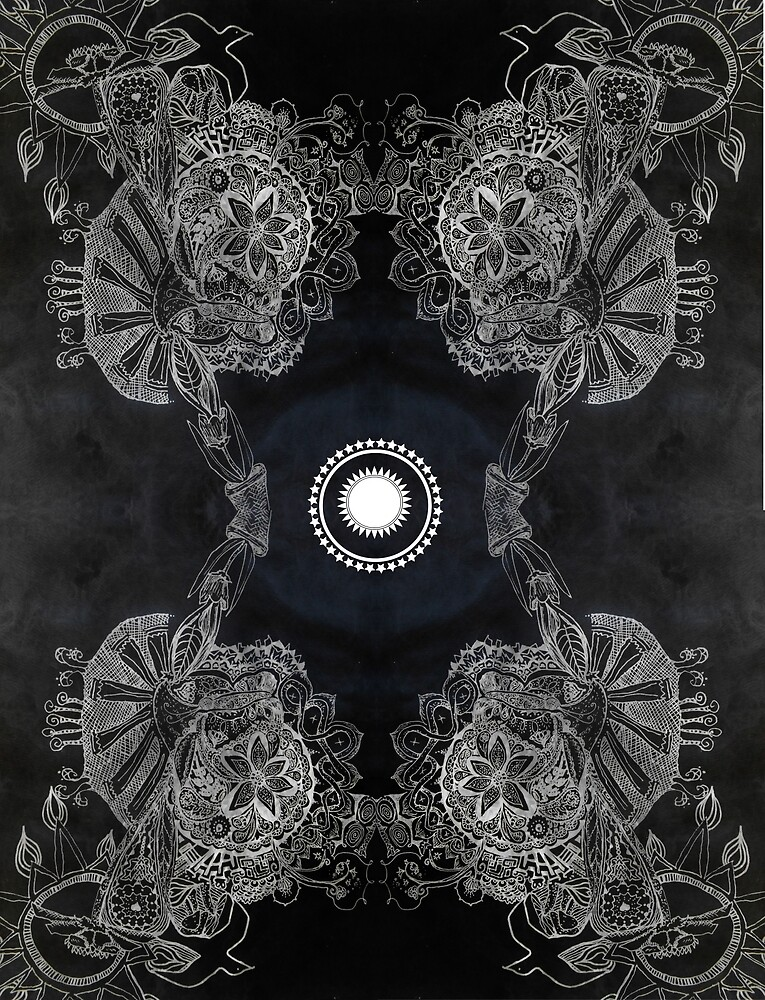 Colorless Potted Nature Kaleidoscope by emilymichaudart