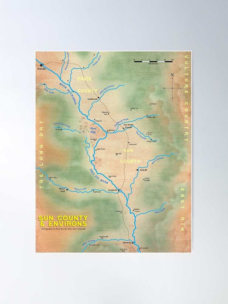 Alternate view of Map of Sun County - Prax Poster