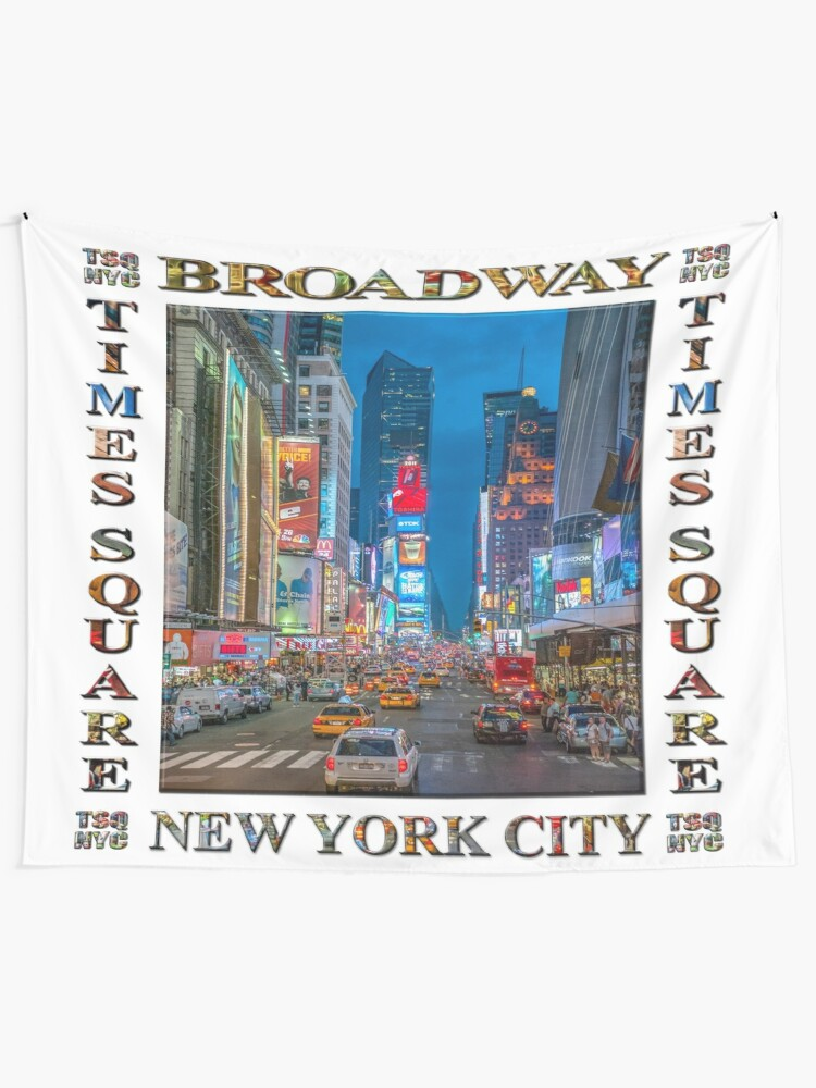 Alternate view of Times Square and Broadway (poster on white) Tapestry