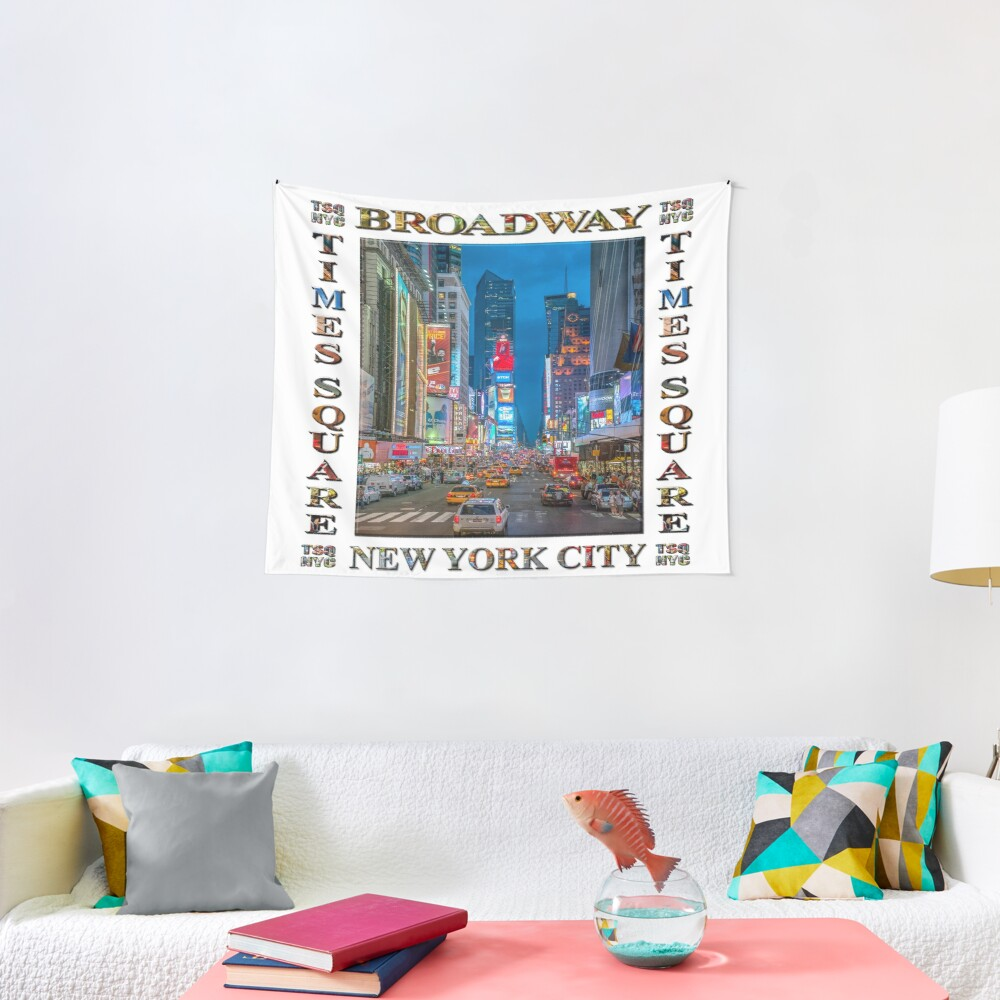 Times Square and Broadway (poster on white) Tapestry