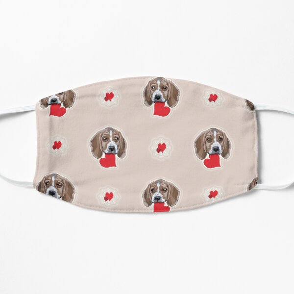 Beagles Galore with Love Hearts Tiled Pattern All Over Flat Mask
