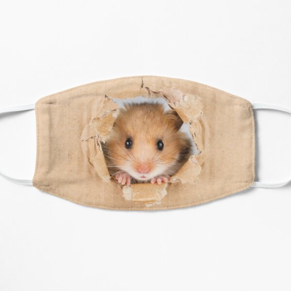 Cant Breathe -  Cute Hamster peeping through hole in brown cardboard Flat Mask
