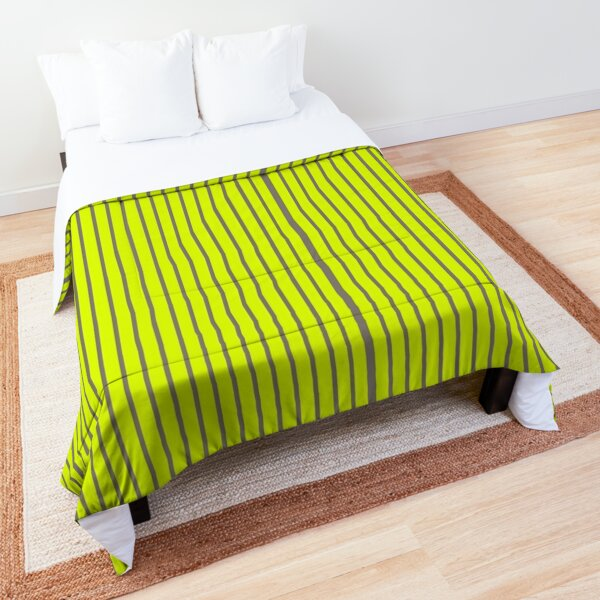 Chartreuse and gray stripes Comforter