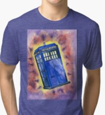Tardis in flight inspired by Who? Tri-blend T-Shirt