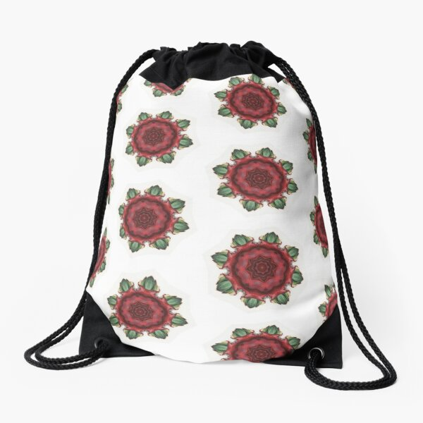 Digital Design Spiral Pattern Red Magenta Green Drawstring Bag