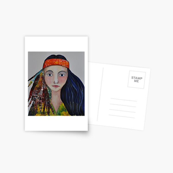 Hippy Girl Postcard