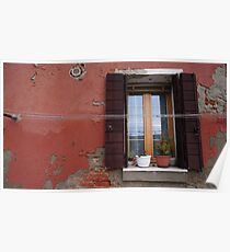 Red Wall With Window Poster