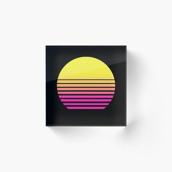 Outrun Retro Sun Acrylic Block