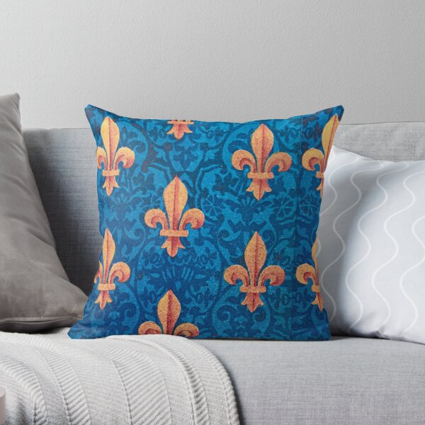 Gold sword design against bright blue background Throw Pillow