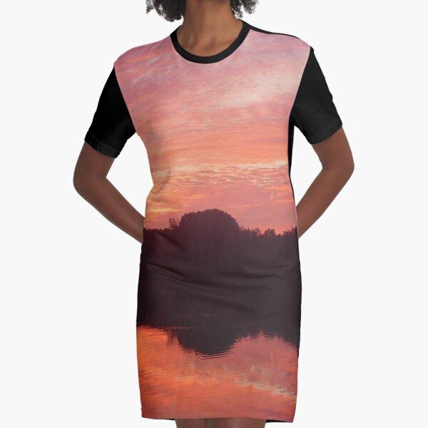 Pond Sunrise 133 Graphic T-Shirt Dress